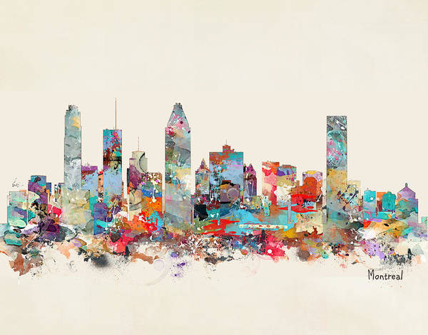 Montreal Poster featuring the painting Montreal Quebec Skyline by Bri Buckley