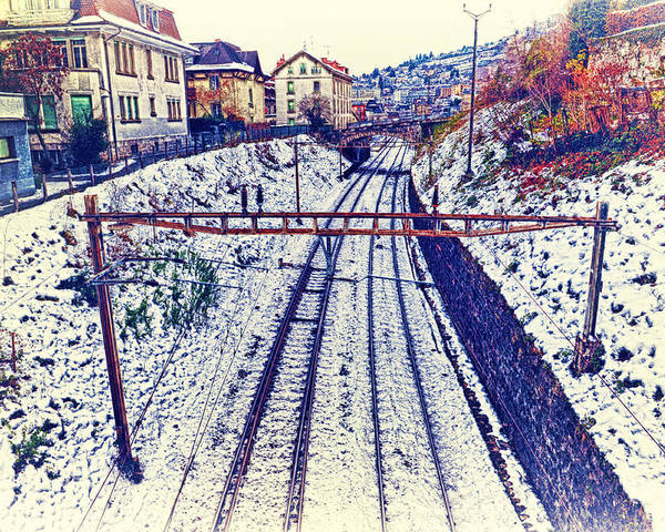 Montreux Poster featuring the photograph Montreux, Tracks In The City. by Adriano Bussi