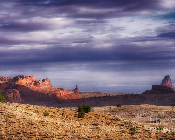 Monument Valley Morning Poster featuring the photograph Monument Valley Morning by Priscilla Burgers