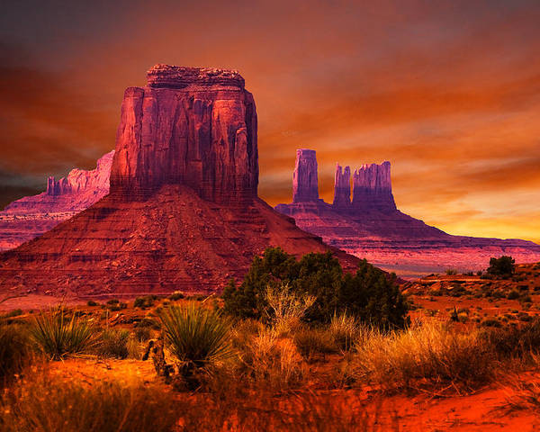 Monument Valley Sunset Poster By Harry Spitz