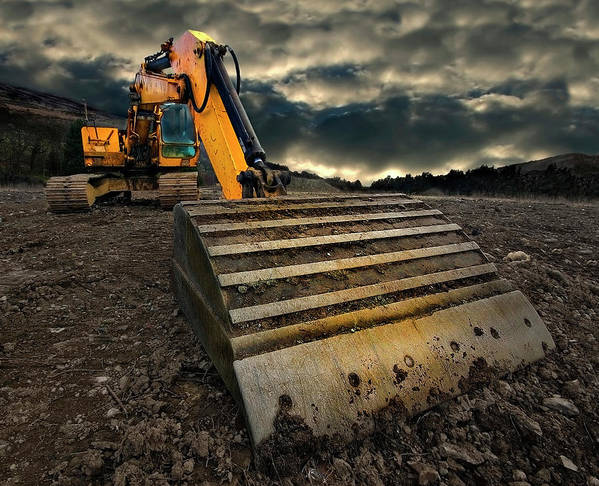 Activity Poster featuring the photograph Moody Excavator by Meirion Matthias