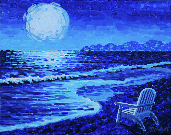 Moon Poster featuring the painting Moon Beach by Tommy Midyette