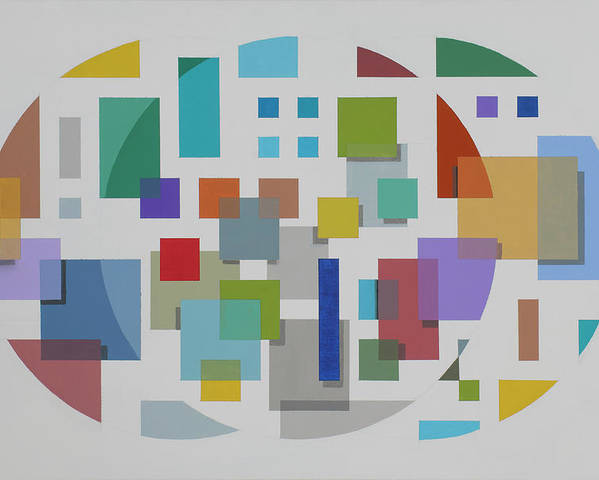 Geometric Abstract Poster featuring the painting Moon Gate Series #2 by Marston A Jaquis