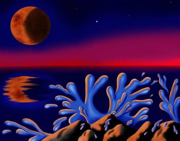 Surrealism Poster featuring the digital art Moon-glow II by Robert Morin