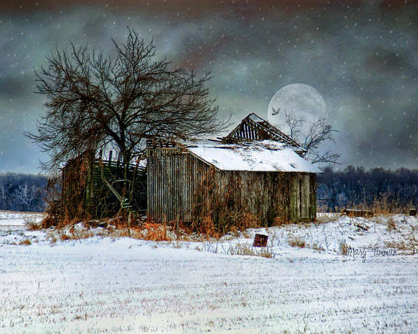 Moon Poster featuring the photograph Moon Light Barn by Mary Timman