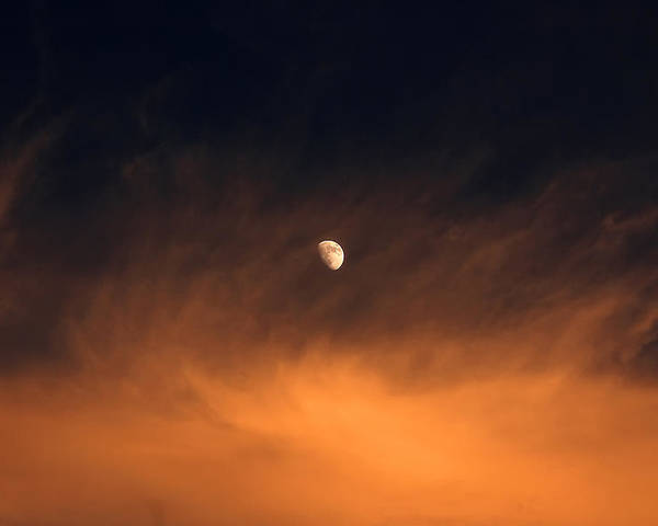 Moon Poster featuring the photograph Moon On Fire by Mandy Wiltse