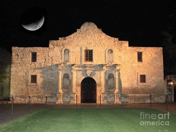 The Alamo Poster featuring the photograph Moon Over The Alamo by Carol Groenen