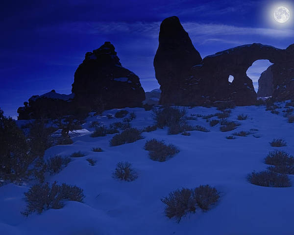 Arches National Park Poster featuring the photograph Moon Over Turret Arch by Utah Images