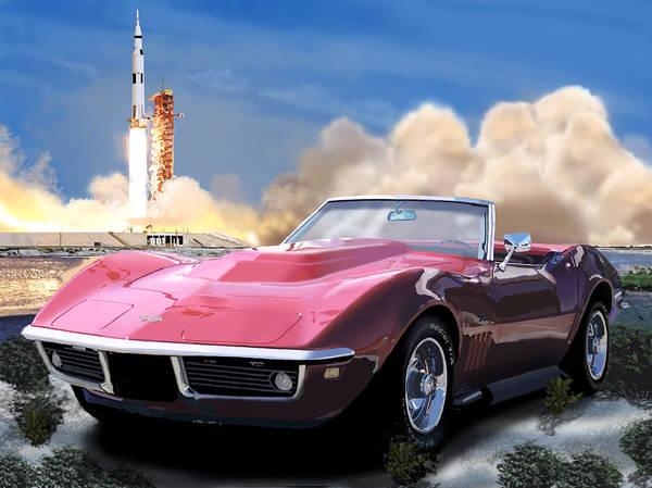 Corvette Poster featuring the digital art Moon Struck 2 by Richard Herron