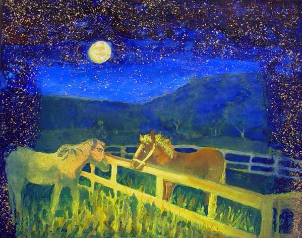 Horses Poster featuring the painting Moon Struck by Helen Musser