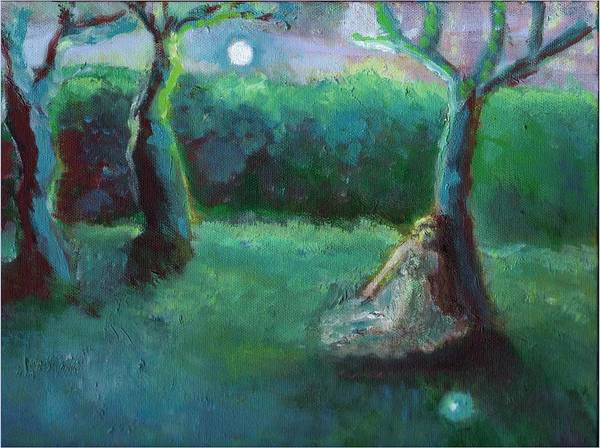 Fantasy Girl Moon Green Romantic Fairy Hillaryart Poster featuring the painting Moonbeam by Hillary McAllister