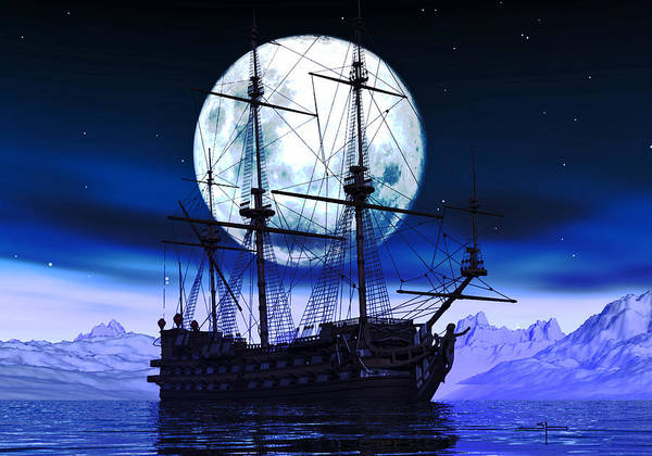 Old Ships Warships Woodenships Sail Poster featuring the digital art Moonlight Bay by Steven Palmer