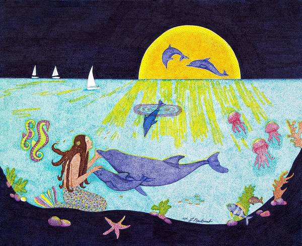 Mermaid Poster featuring the drawing Moonlight Crossing 3 by Judy Cheryl Newcomb