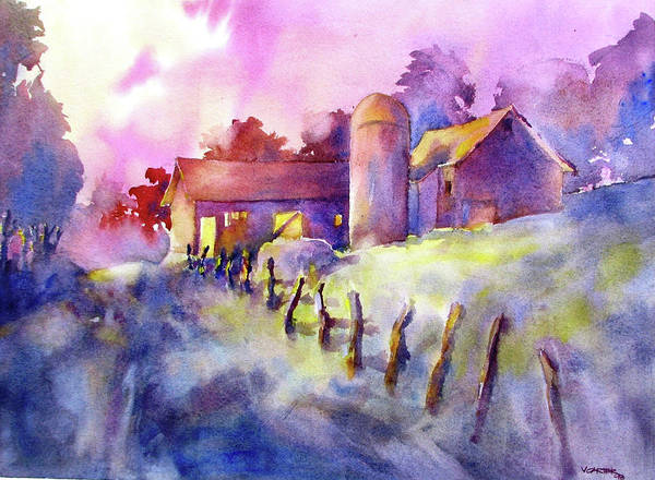 Watercolor Poster featuring the painting Moonlight Farm by Virgil Carter