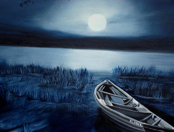 Poster featuring the painting Moonlight On The River by Darlene Green