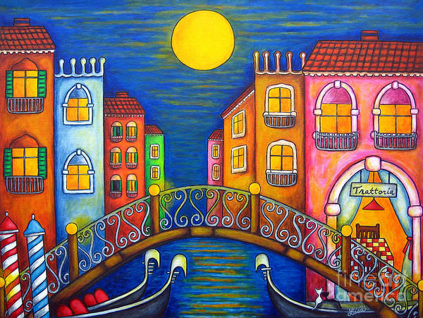 Venice Poster featuring the painting Moonlit Venice by Lisa Lorenz