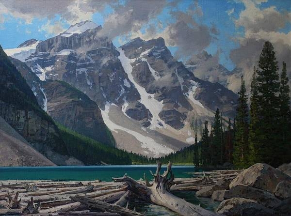 Landscape Poster featuring the painting Moraine Lake by Lanny Grant