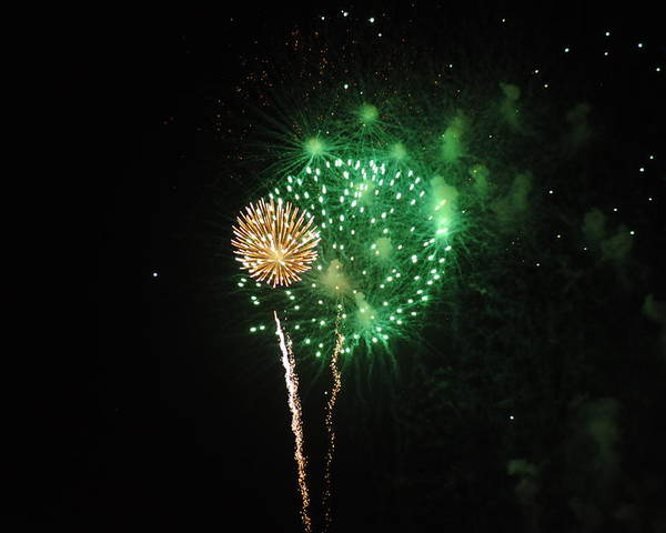 Green Poster featuring the photograph More Fireworks by Brynn Ditsche