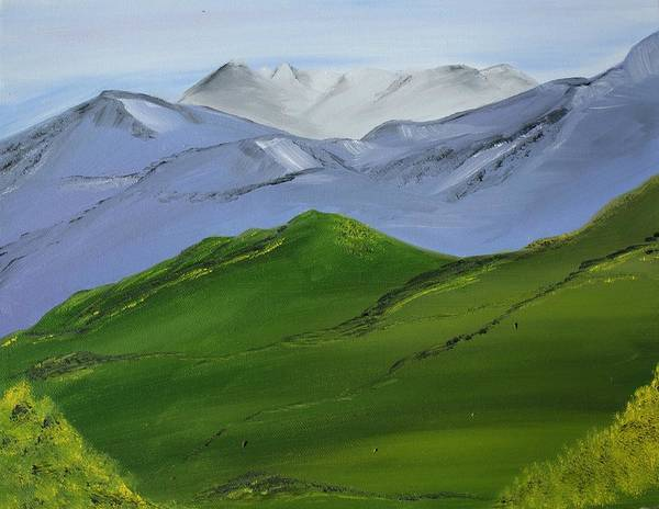 Landscape Poster featuring the painting More Mountains by Liz Vernand