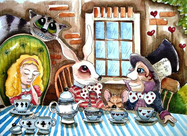 Alice Wonderland White Rabbit Mouse Hatter Cheshire Cat Window Table Cloth Tea Teacup Teapot Heart Brick Tree Chair Poster featuring the painting More Tea by Lucia Stewart