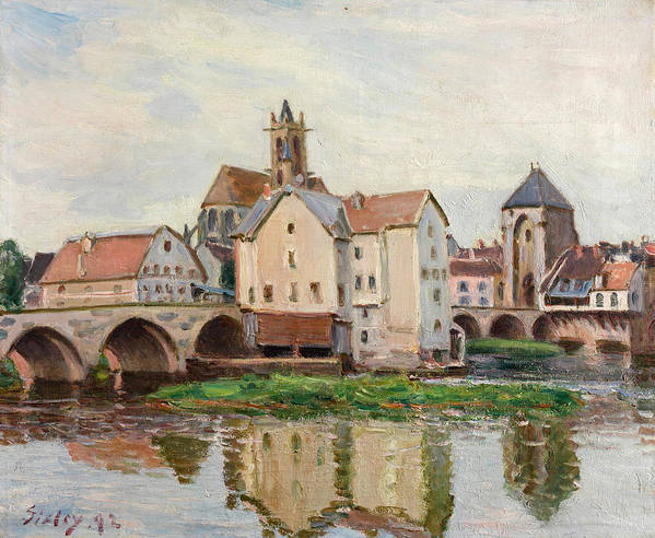Alfred Sisley Poster featuring the painting Moret-sur-loing. Morning by Alfred Sisley