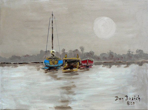 Foggy Morning Poster featuring the painting Morning Boats by Dan Bozich