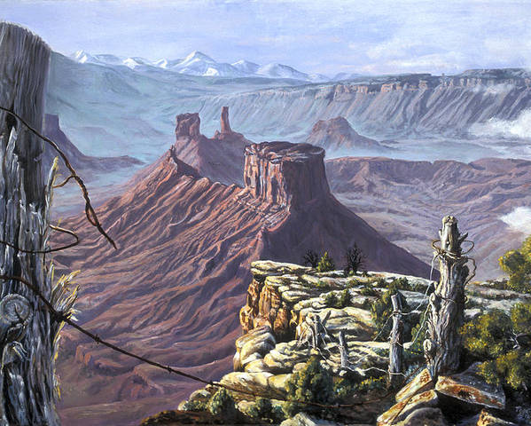 Landscape Poster featuring the painting Morning Boundaries by Page Holland