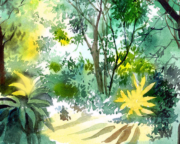 Landscape Poster featuring the painting Morning Glory by Anil Nene