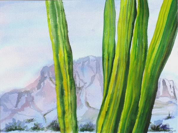 Desert Landscape Poster featuring the painting Morning Haze by Kathy Mitchell
