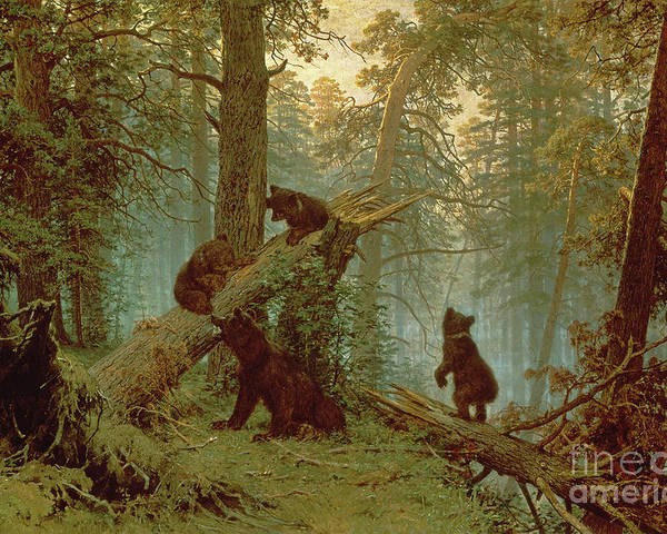 Morning Poster featuring the painting Morning In A Pine Forest by Ivan Ivanovich Shishkin
