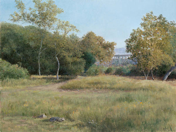 Landscape Poster featuring the painting Morning In The Arroyo Seco by Laura Wynne