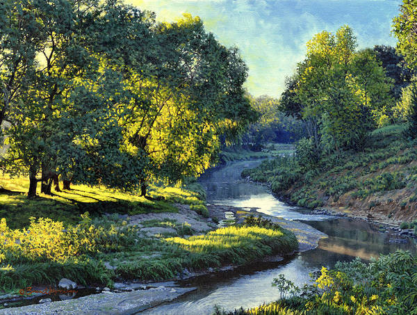 Landscape Poster featuring the painting Morning Light on the Creek by Bruce Morrison