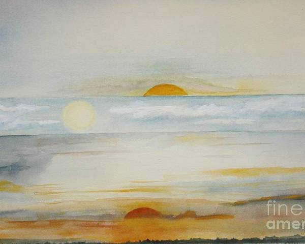 Sun Moon Clouds Sky Abstract Sunrise Sunset Poster featuring the painting Morning Noon And Night by Georgia Johnson