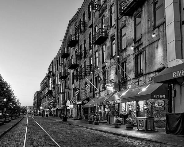 River Street Poster featuring the photograph Morning On River Street In Black And White by Greg Mimbs
