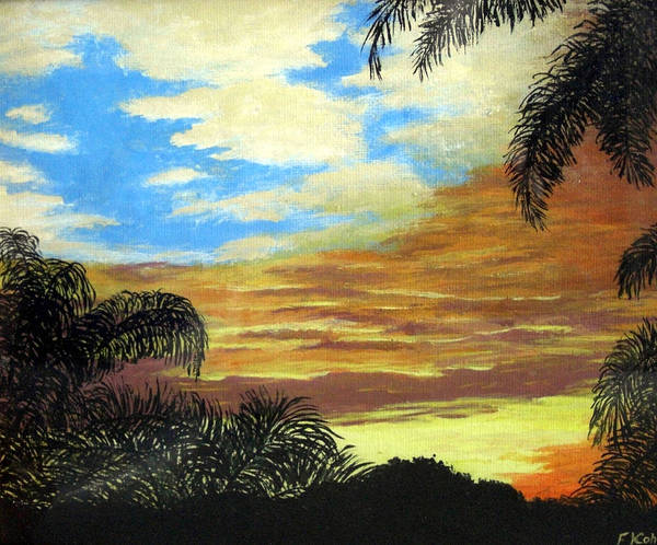 Sunrise-sunset Painting Poster featuring the painting Morning Sky by Frederic Kohli