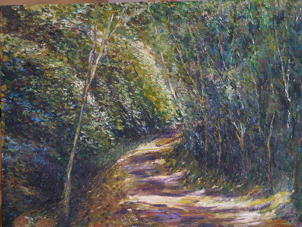 Landscape Poster featuring the painting Morning Walk by Wendy Chua