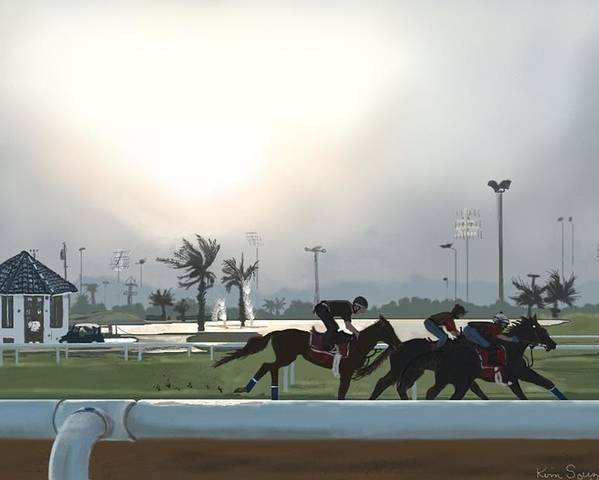 Horses Poster featuring the painting Morning Workout by Kim Souza