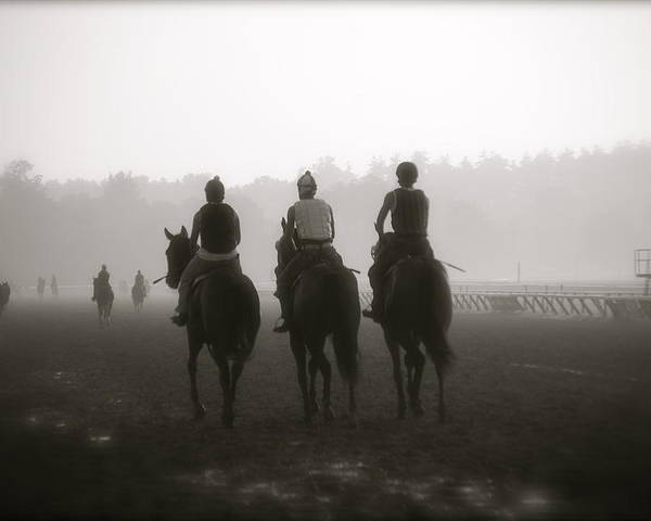 Horses Poster featuring the photograph Morning Workout Saratoga Ny by Amanda Lonergan