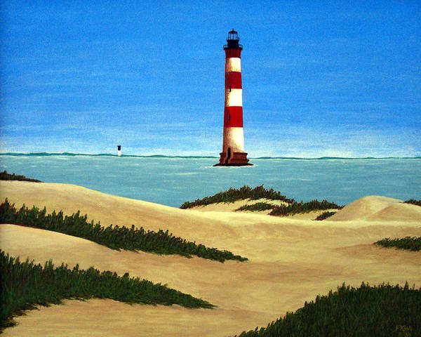 Lighthouse Paintings Poster featuring the painting Morris Island Lighthouse by Frederic Kohli