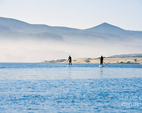 Active Poster featuring the photograph Morro Bay Paddle Boarders by Bill Brennan - Printscapes