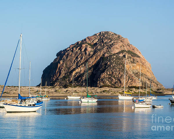 Morro Bay Poster featuring the photograph Morro Rock B3982 by Stephen Parker