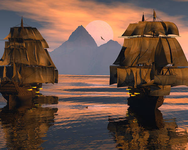 Bryce 3d Fantasy tall Ships Windjammer Poster featuring the digital art Mortal Enemies by Claude McCoy