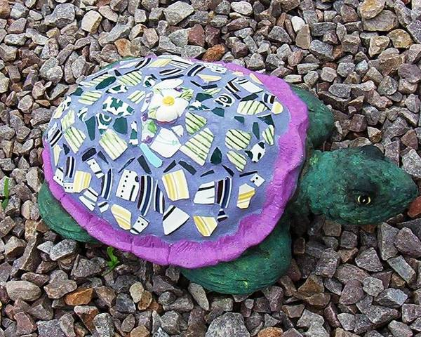 Mosaic Poster featuring the ceramic art Mosaic Turtle by Jamie Frier