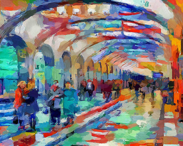 Moscow Poster featuring the digital art Moscow Metro Station by Yury Malkov