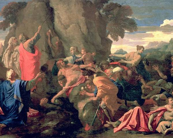 Moses Poster featuring the painting Moses Striking Water From The Rock by Nicolas Poussin
