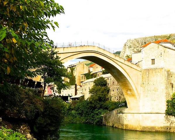 Bridge In Mostar Poster featuring the painting Mostar, Bosnia by Evisabel Fabrega