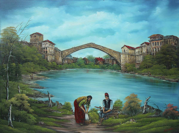 Landscape Poster featuring the painting Mostar Bridge Story by Sead Pozegic