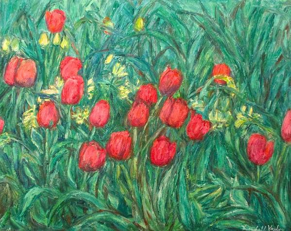 Kendall Kessler Poster featuring the painting Mostly Tulips by Kendall Kessler