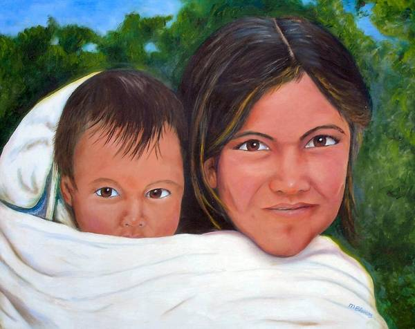 Portrait Poster featuring the painting Mother And Child by Merle Blair