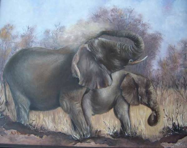 Elephants Poster featuring the painting Mother And Child by Nellie Visser